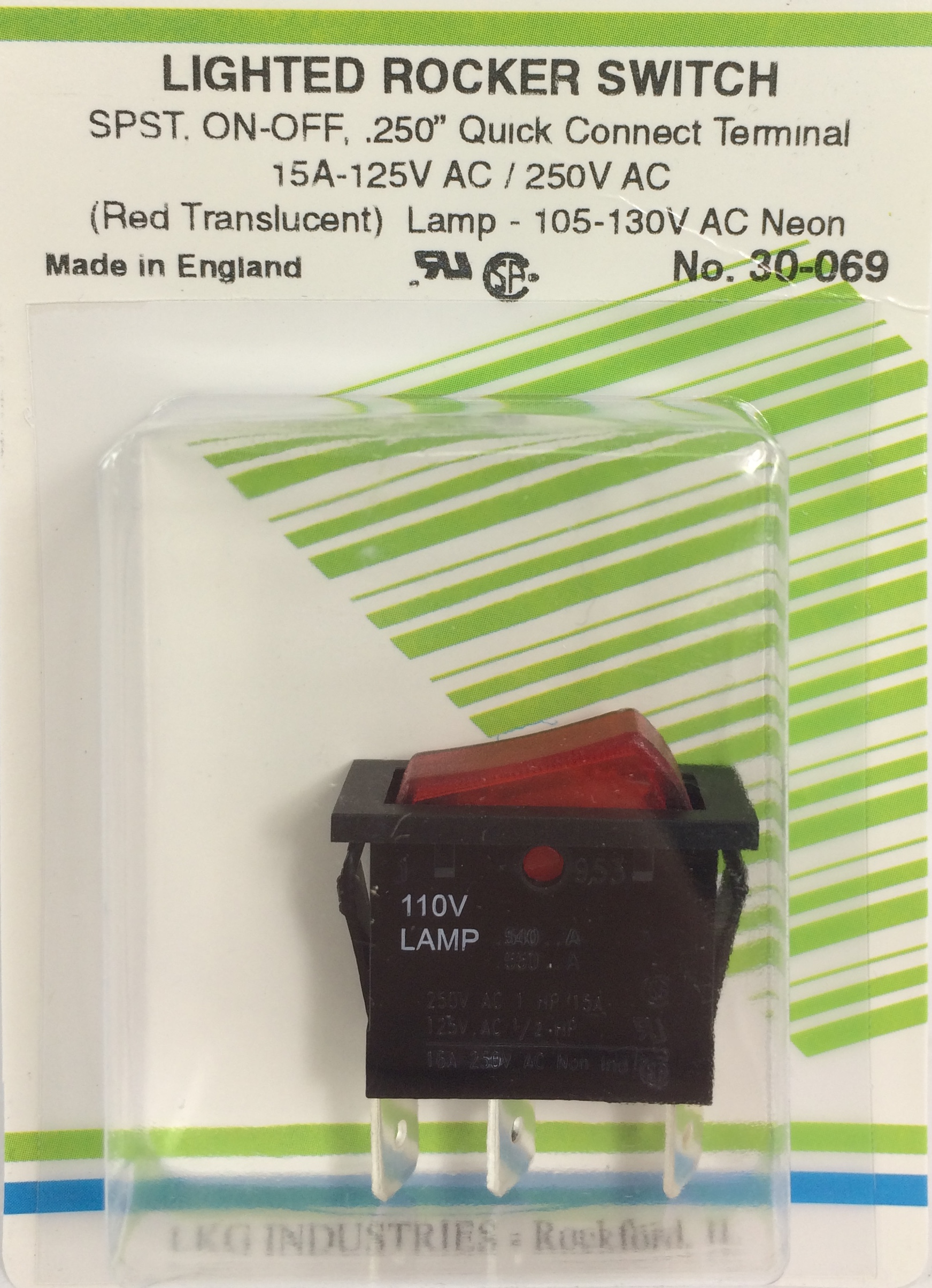 Orvac Electronics Standard Rocker Switch Mini Rockers Illuminated Non Switches Spst Lighted On Off Red Translucent Lens