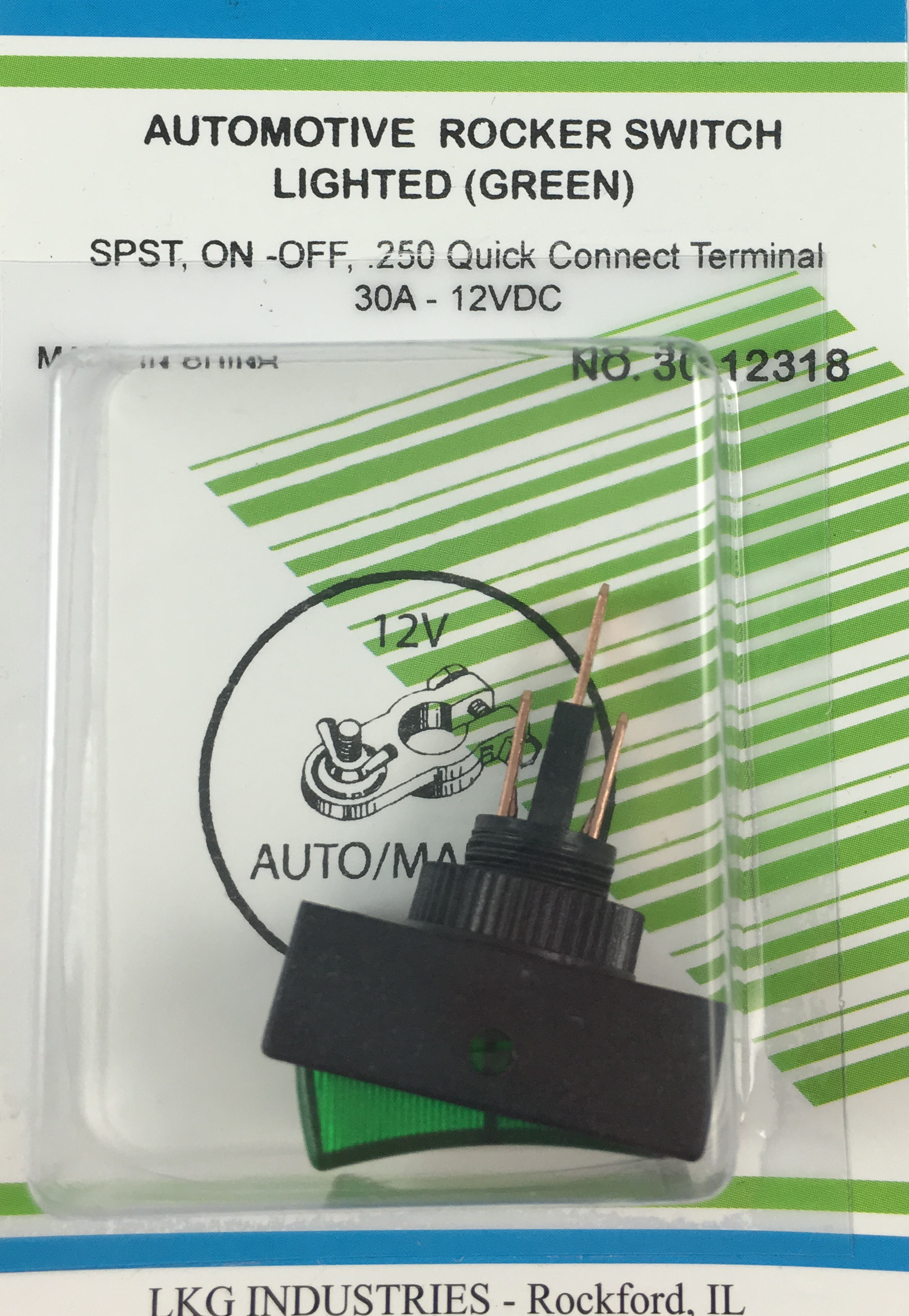 Orvac Electronics Wide Rocker Switch Mini Rockers Illuminated Non Switches Spst Round Hole Green Lighted On Off 30a 12vdc