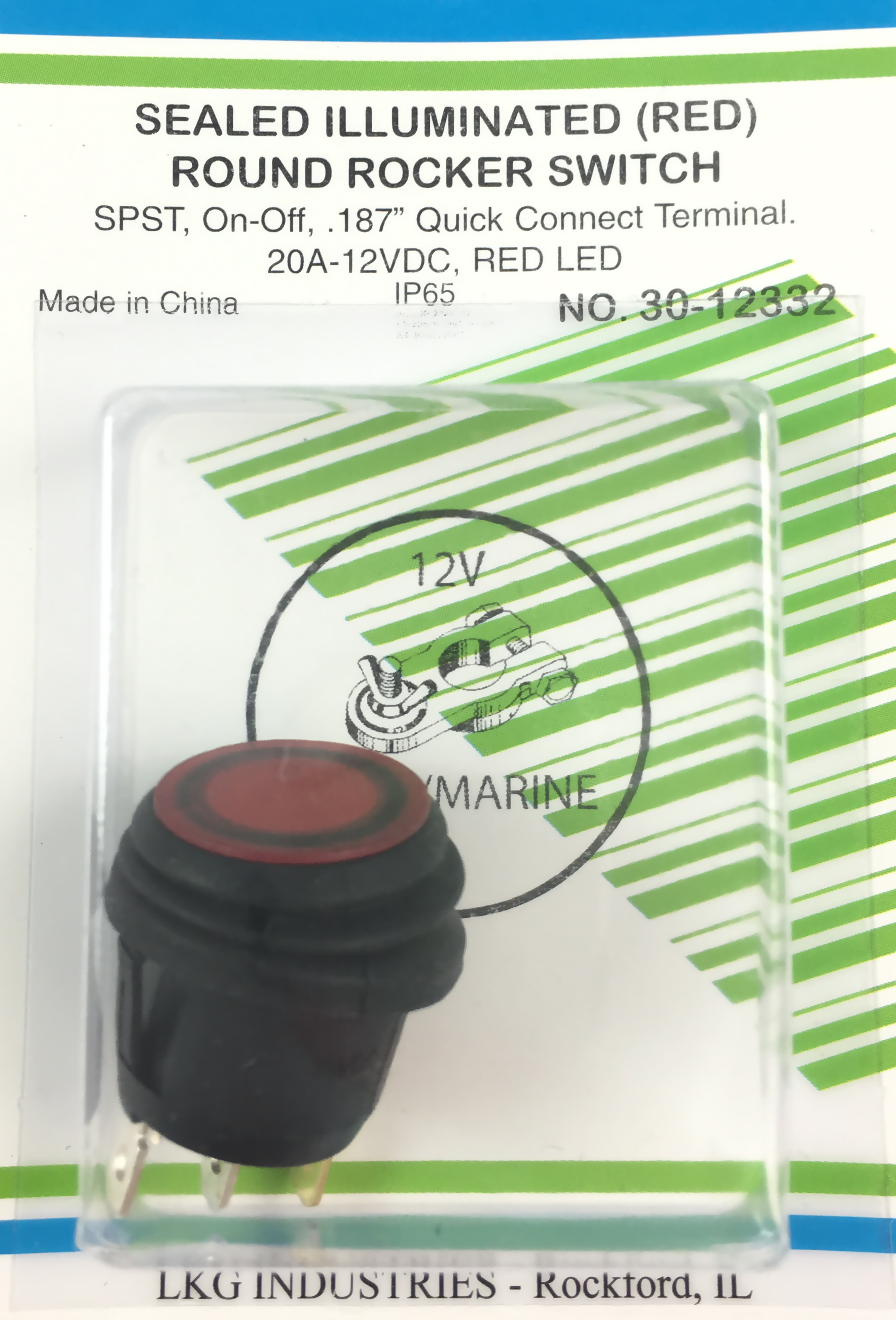 Orvac Electronics Round Rocker 12v Lighted Switch Spst All Corp 12vdc Red Illuminated Splash Proof Snap In On Off