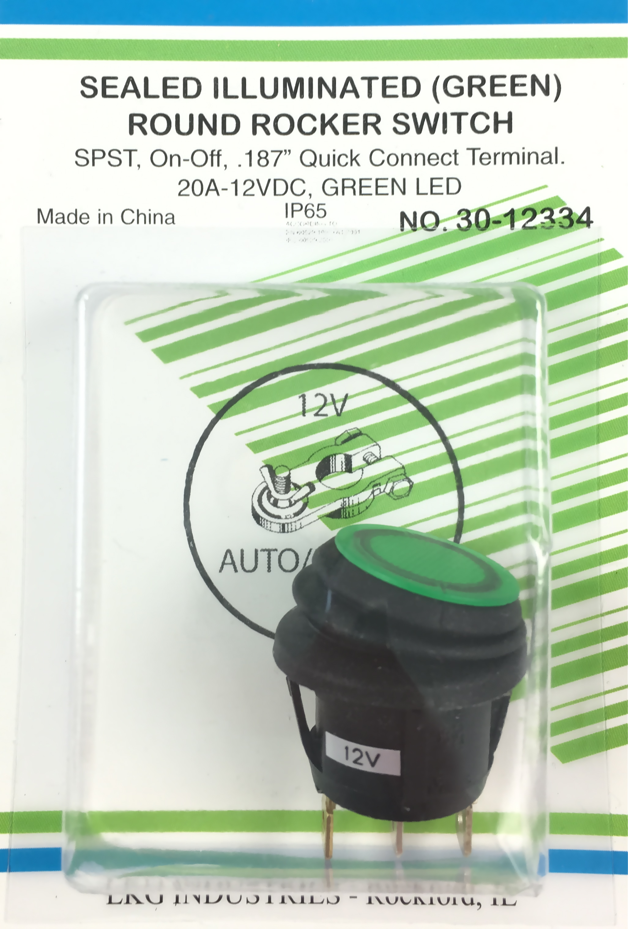 Orvac Electronics Round Rocker Switch Wiring Spst 16a 125vac 12vdc Green Illuminated Splash Proof Snap In On Off