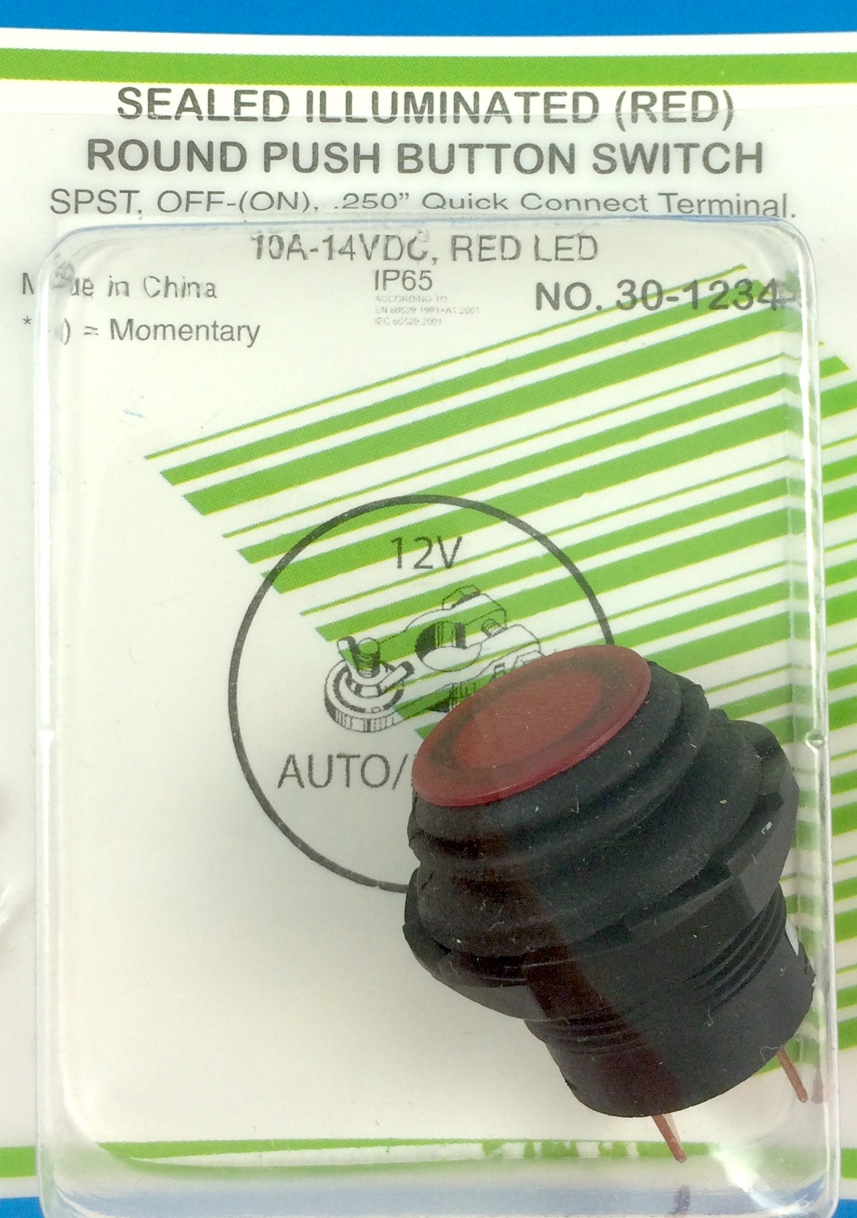 Philmore 12vdc Red Illuminated Splash Proof Push Button Switch Spst On Off Switches