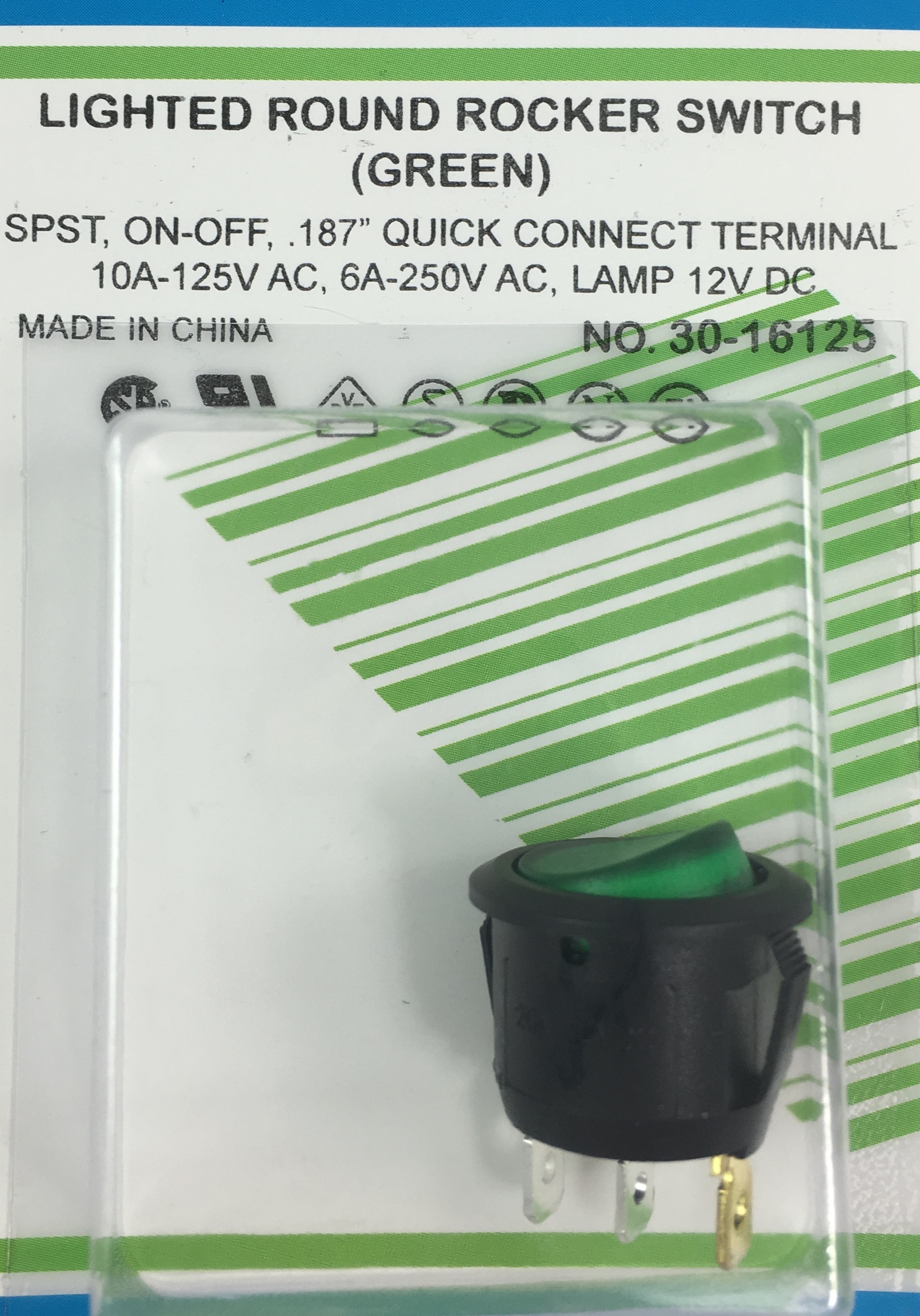 Orvac Electronics Round Rocker Spst Switch Switches Relays 12vdc Green Lighted Snap In On Off